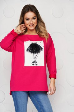 Pink women`s blouse elastic cotton with graphic details