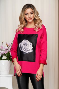 Pink women`s blouse elastic cotton loose fit with graphic details
