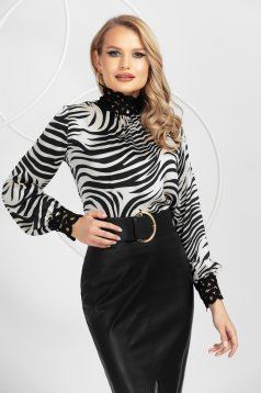 Animal print white from satin women`s blouse nonelastic fabric with lace details