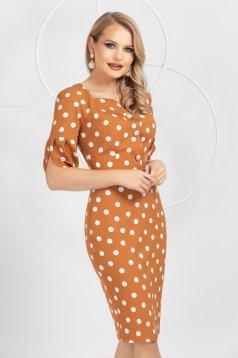 Mustard slightly elastic fabric dots print dress midi pencil