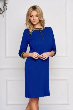 Rochie StarShinerS albastra eleganta scurta din stofa accesorizata cu fermoar