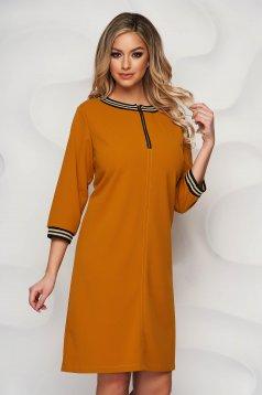 StarShinerS mustard dress a-line cloth zipper accessory short cut elegant
