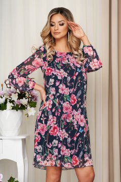 Darkgrey dress from veil fabric with floral print with inside lining