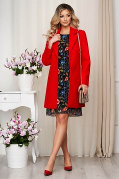 Overcoat red soft fabric straight short cut