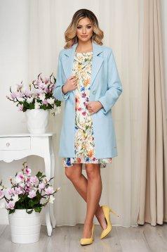 Overcoat blue soft fabric straight short cut