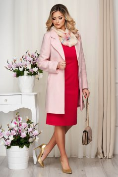 Overcoat pink soft fabric straight short cut