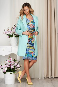 Overcoat turquoise straight thin fabric soft fabric