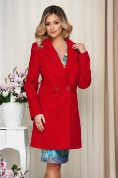 Overcoat red straight thin fabric soft fabric