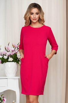 Dress pink office slightly elastic fabric straight with pockets