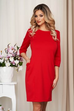Dress red office slightly elastic fabric straight with pockets