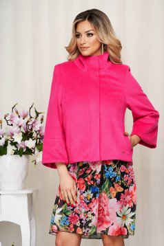 Jacket pink loose fit with bell sleeve from fluffy fabric soft fabric