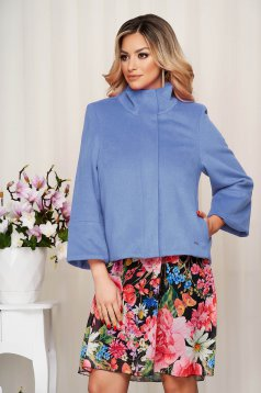 Jacket blue loose fit with bell sleeve from fluffy fabric soft fabric