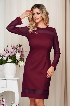 Dress burgundy office from non elastic fabric straight