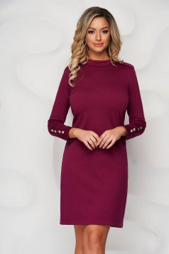 Dress raspberry from elastic fabric straight with button accessories