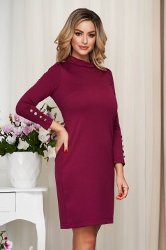 Dress burgundy from elastic fabric straight with button accessories