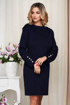 Dress darkblue from elastic fabric straight with button accessories
