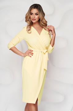 Yellow dress pencil office from elastic fabric wrap over front