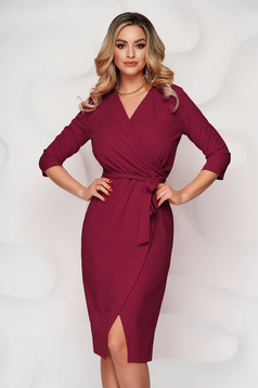 Burgundy dress pencil office from elastic fabric wrap over front