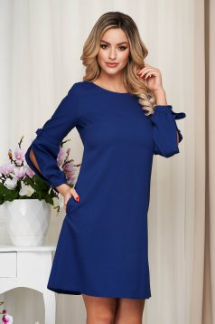 Dress darkblue office cloth slightly elastic fabric loose fit with puffed sleeves
