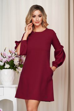 Dress burgundy office cloth slightly elastic fabric loose fit with puffed sleeves