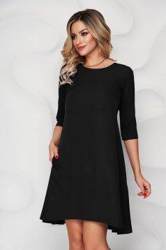 Rochie neagra office cu croi in a din stofa usor elastica cu decolteu rotunjit