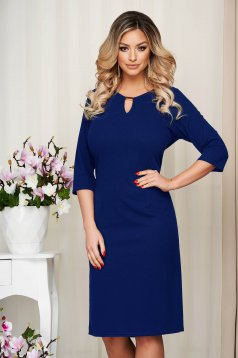 Dress blue office short cut straight with metalic accessory