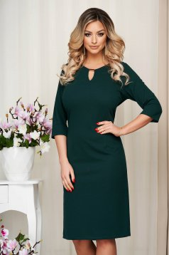 Dress darkgreen office short cut straight with metalic accessory