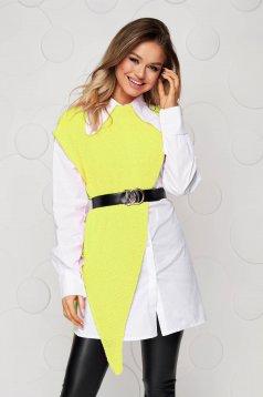 Camasa dama SunShine galbena cu croi larg suprapunere de material cu accesoriu tip curea
