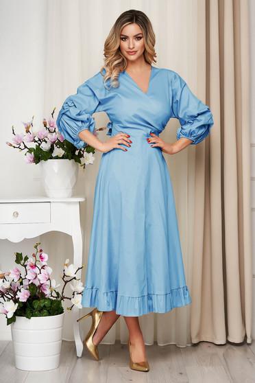 Rochie SunShine albastru-deschis din bumbac subtire accesorizata cu cordon clos cu elastic in talie