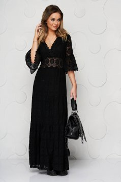 Black dress cloche with elastic waist with inside lining lace overlay