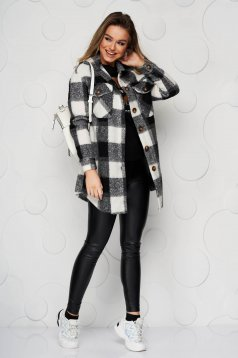 Jacket black wool loose fit with front pockets
