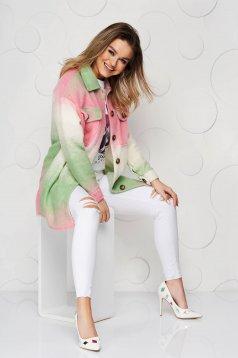 Jacheta tip camasa SunShine roz din lana cu croi larg cu buzunare in fata