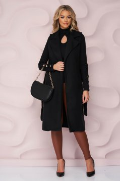 Black gilet accessorized with tied waistband detachable cord lateral pockets thick fabric soft fabric with easy cut