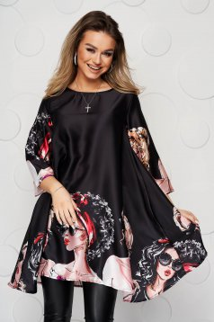 Black dress from satin fabric texture loose fit with graphic details