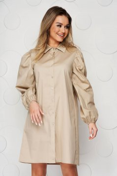 Cream dress loose fit elastic held sleeves thin fabric