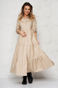 Cream dress thin fabric with ruffle details a-line long