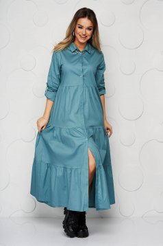 Turquoise dress thin fabric with ruffle details a-line long