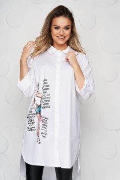 White women`s shirt asymmetrical slightly elastic cotton loose fit