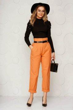 Pantaloni SunShine portocalii din material usor elastic conici cu talie inalta cu accesoriu tip curea