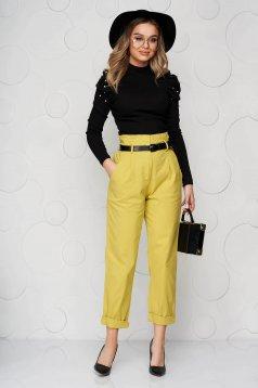 Pantaloni SunShine galbeni din material usor elastic conici cu talie inalta cu accesoriu tip curea