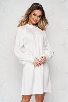 White dress from satin with puffed sleeves loose fit bow accessory