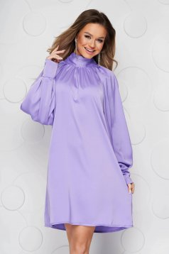 Lila dress from satin with puffed sleeves loose fit bow accessory