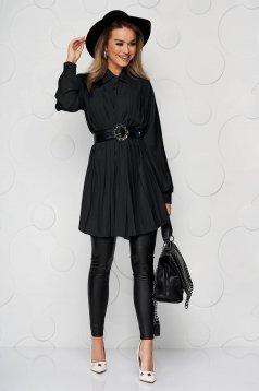 Camasa dama SunShine neagra din material vaporos si transparent plisata cu o curea din imitatie de piele