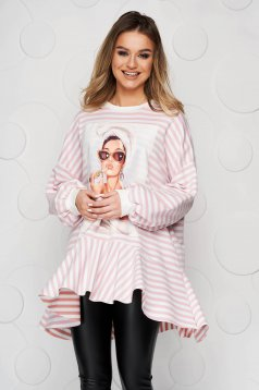 Lightpink women`s blouse with stripes with ruffle details from elastic fabric loose fit