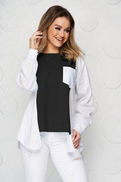 Bluza dama SunShine neagra din bumbac asimetrica cu croi larg accesorizata cu fermoare