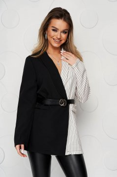 Black jacket tented slightly elastic fabric with stripes accessorized with belt