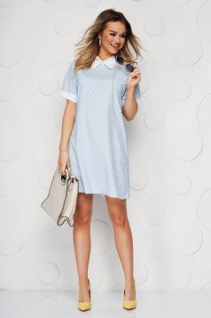 Blue dress dots print airy fabric straight