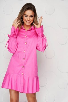 Pink dress thin fabric with bow accessories loose fit midi