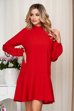 Red dress loose fit with ruffle details with turtle neck