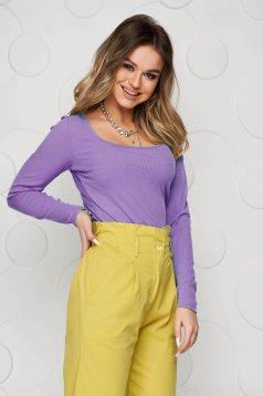 Lila women`s blouse from elastic and fine fabric from striped fabric basic tented